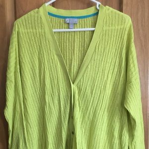 Lime green knit cardigan size 2X